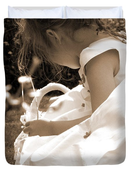 Flower Girls In Sepia Duvet Cover by Terri Waters