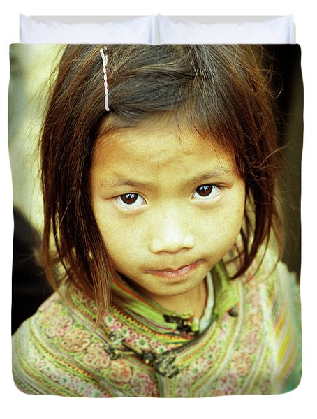 Flower Hmong Girl 02 Duvet Cover by Rick Piper Photography