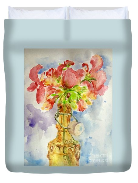Duvet Cover featuring the painting Flower In  Bottle by Jieming Wang