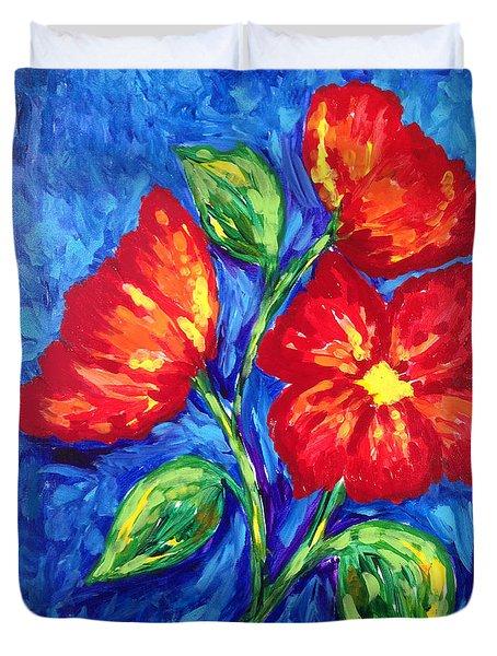 Flower In Red Duvet Cover