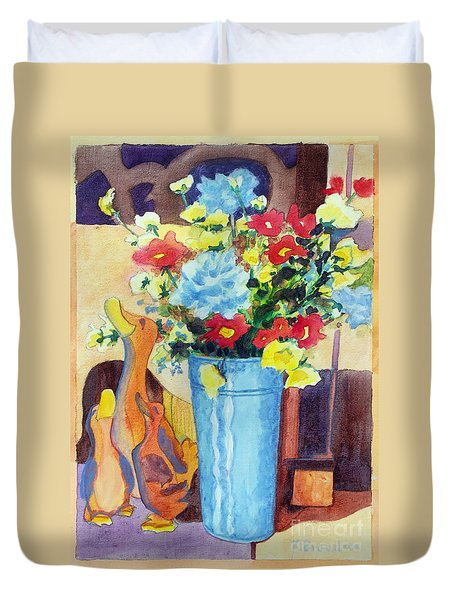 Duvet Cover featuring the painting Flower In The Dell by Kathy Braud