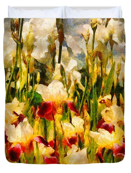 Flower - Iris - Mildred Presby 1923 Duvet Cover by Mike Savad