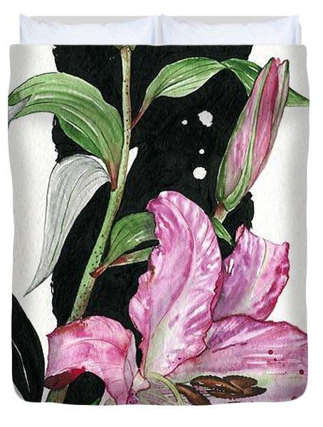 Duvet Cover featuring the painting Flower Lily 02 Elena Yakubovich by Elena Yakubovich