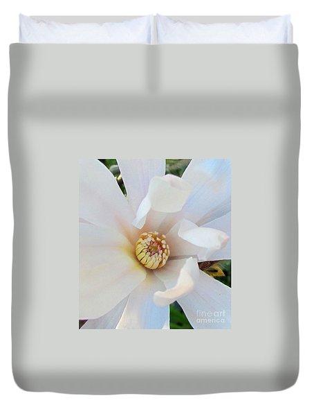 Flower Magnolia White Duvet Cover by Joyce Woodhouse