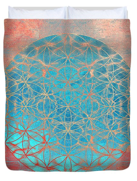 Flower Of Life Aqua Orange Duvet Cover