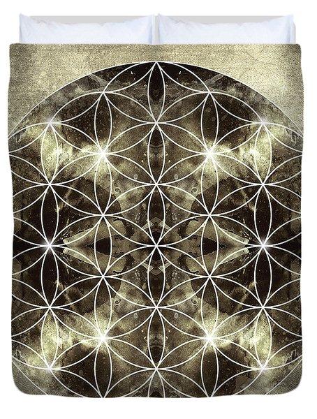 Flower Of Life Silver Duvet Cover