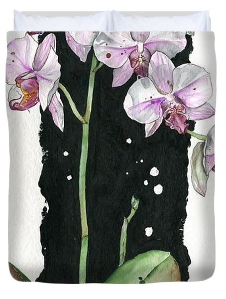 Duvet Cover featuring the painting Flower Orchid 02 Elena Yakubovich by Elena Yakubovich