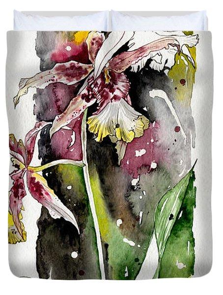 Duvet Cover featuring the painting Flower Orchid 03 Elena Yakubovich by Elena Yakubovich