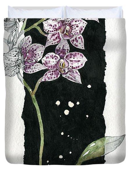 Duvet Cover featuring the painting Flower Orchid 04 Elena Yakubovich by Elena Yakubovich