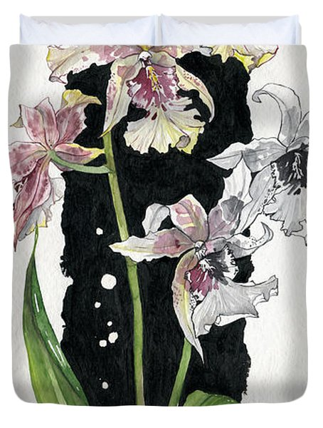 Duvet Cover featuring the painting Flower Orchid 06 Elena Yakubovich by Elena Yakubovich