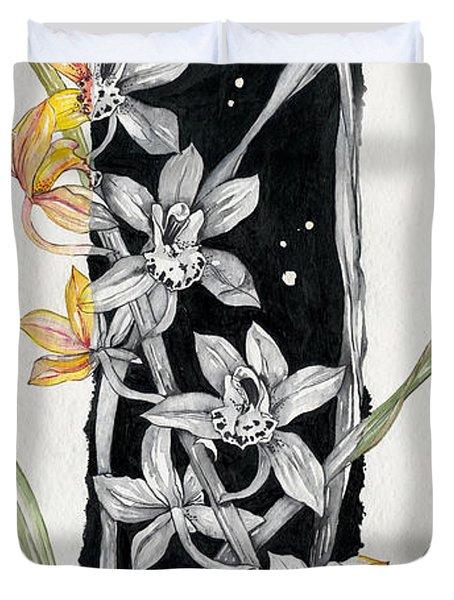Duvet Cover featuring the painting Flower Orchid 07 Elena Yakubovich by Elena Yakubovich