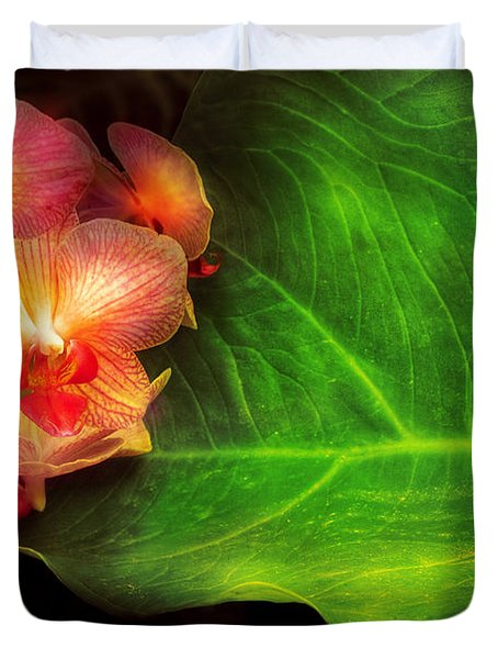 Flower - Orchid - Phalaenopsis Orchids At Rest Duvet Cover by Mike Savad