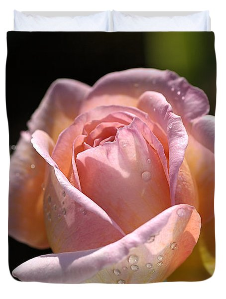 Flower-pink And Yellow Rose-bud Duvet Cover