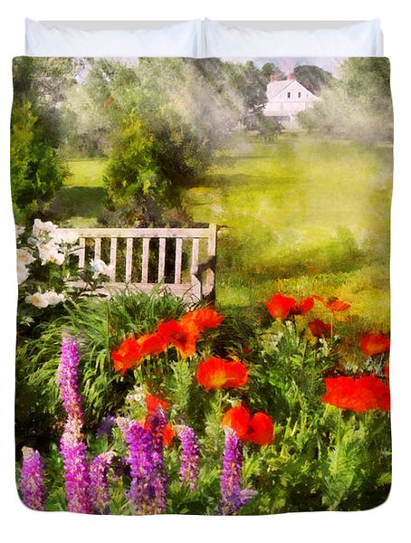 Flower - Poppy - Piece Of Heaven Duvet Cover by Mike Savad