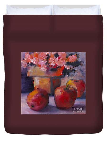 Flower Pot And Apples Duvet Cover by Michelle Abrams