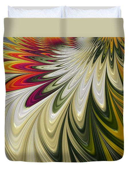 Duvet Cover featuring the digital art Flower Power by Gabriella Weninger - David