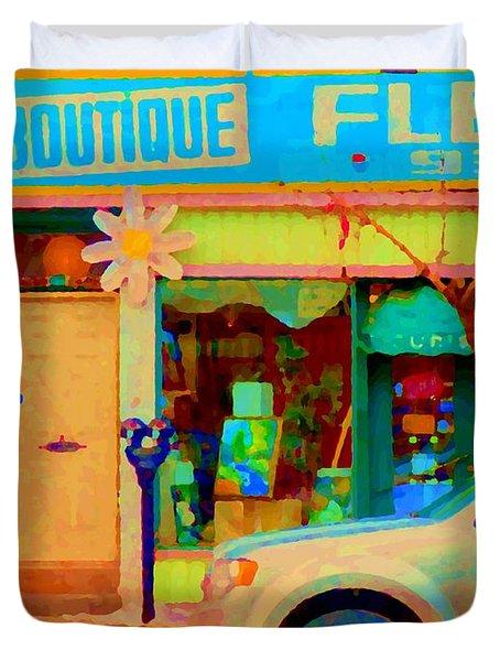 Flower Shop St Henri Boutique Fleuriste Window Notre Dame Ouest Montreal City Scene Carole Spandau Duvet Cover by Carole Spandau