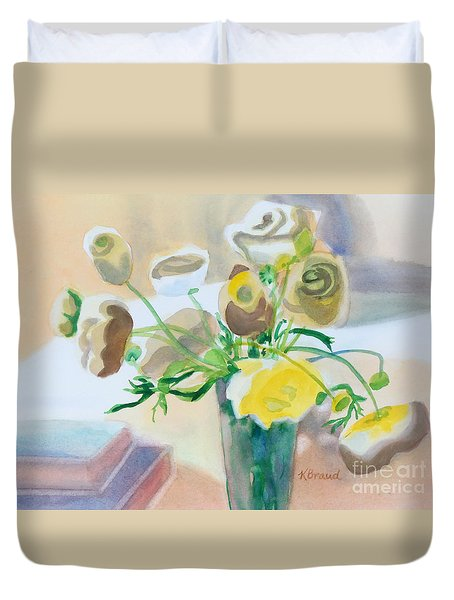 Flower Still Life          Duvet Cover by Kathy Braud