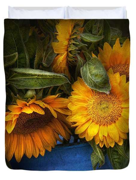 Flower - Sunflower - The Suns Have Risen  Duvet Cover by Mike Savad