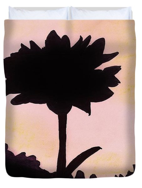 Duvet Cover featuring the drawing Flower - Sunrise by D Hackett