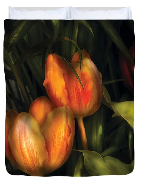 Flower - Tulip -  Orange Irene And Red  Duvet Cover by Mike Savad