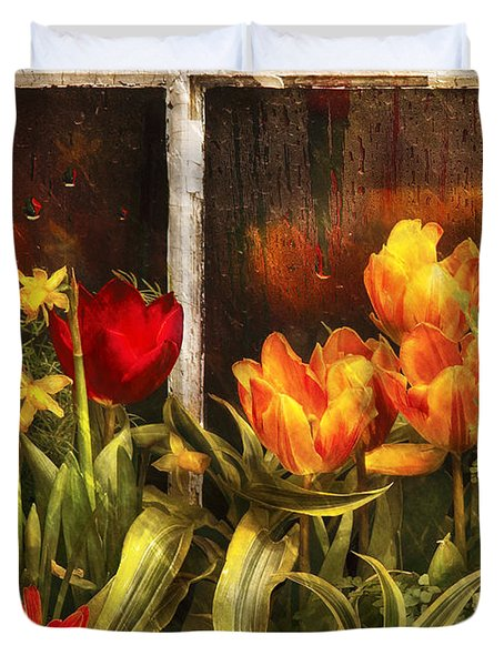 Flower - Tulip - Tulips In A Window Duvet Cover
