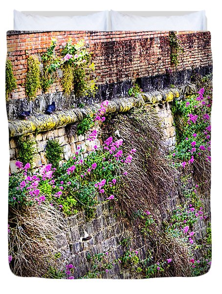 Flower Wall Along The Arno River- Florence Italy Duvet Cover by Jon Berghoff