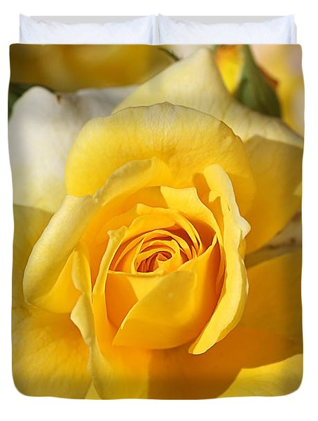 Flower-yellow Rose-delight Duvet Cover by Joy Watson