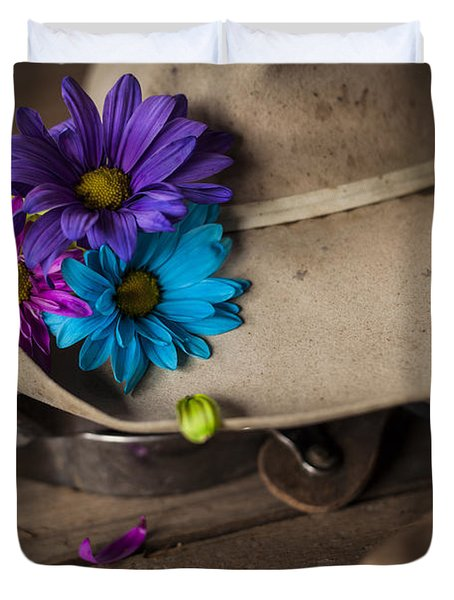 Flowered Hat Duvet Cover by Amber Kresge