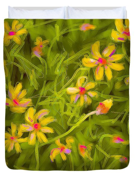 Duvet Cover featuring the painting Flowerfield by Go Van Kampen
