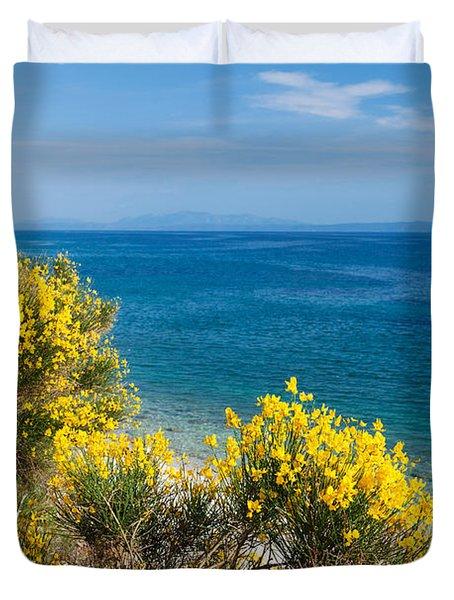Flowering Broom At Coastal Landscape Duvet Cover
