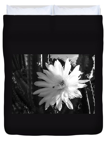 Duvet Cover featuring the photograph Flowering Cactus 1 Bw by Mariusz Kula