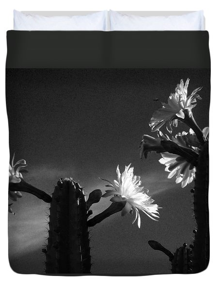 Duvet Cover featuring the photograph Flowering Cactus 4 Bw by Mariusz Kula