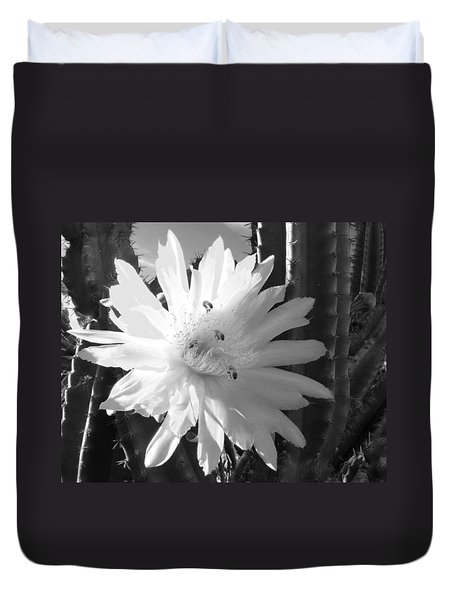 Duvet Cover featuring the photograph Flowering Cactus 5 Bw by Mariusz Kula