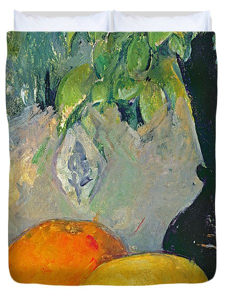 Flowers And Fruits Duvet Cover by Paul Cezanne