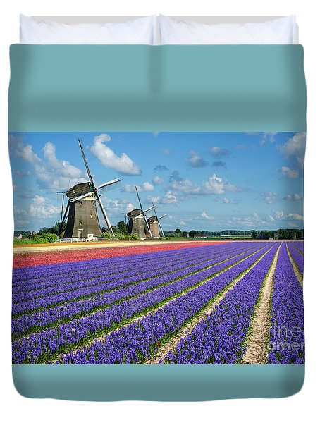 Landscape In Spring With Flowers And Windmills In Holland Duvet Cover