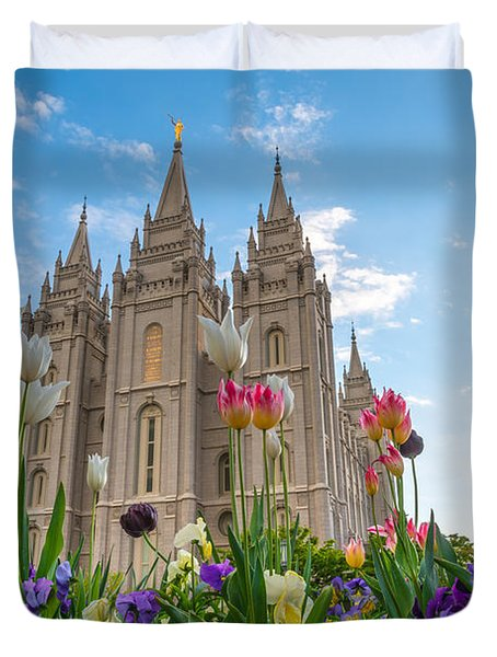 Flowers At Temple Square Duvet Cover