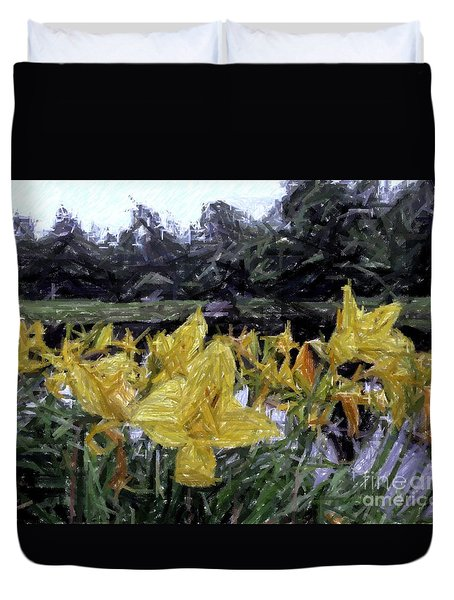 Flowers By The Pond Duvet Cover