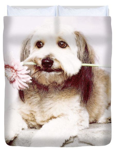 Flowers For My Best Friend. Duvet Cover by VRL Art