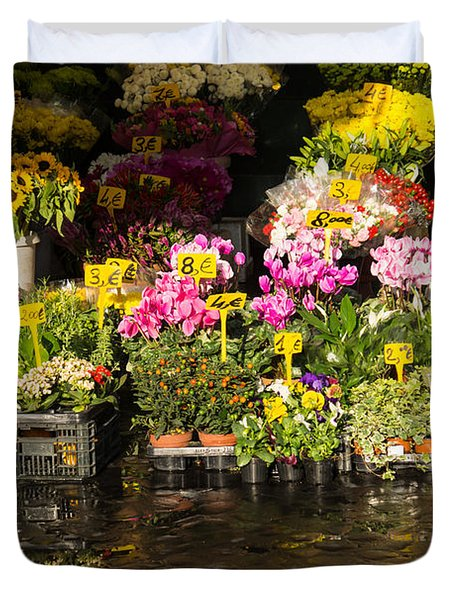 Flowers For Sale At Campo De Fiori - My Favourite Market In Rome Italy Duvet Cover