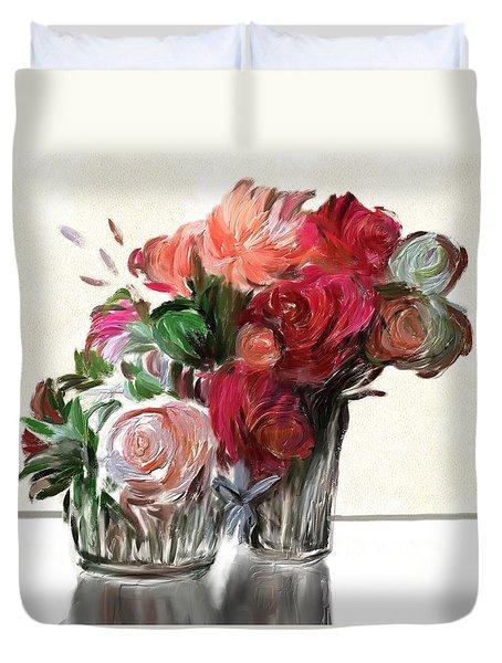 Flowers For Valentines Duvet Cover