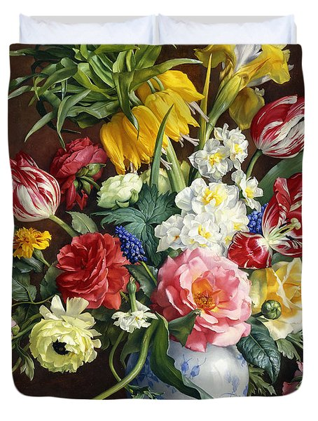 Flowers In A Blue And White Vase Duvet Cover by R Klausner