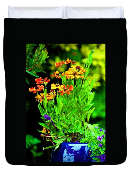 Flowers In A Blue Vase Duvet Cover