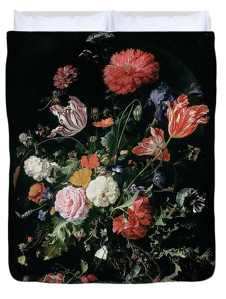 Flowers In A Glass Vase, Circa 1660 Duvet Cover by Jan Davidsz de Heem
