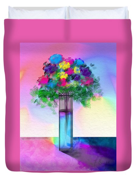 Duvet Cover featuring the digital art Flowers In A Glass Vase by Frank Bright