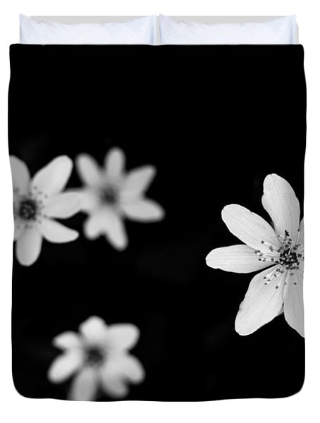 Flowers In Black Duvet Cover