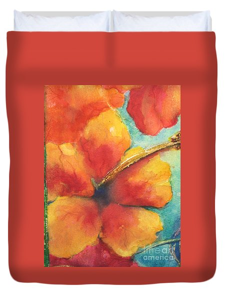 Duvet Cover featuring the painting Flowers In Bloom by Chrisann Ellis