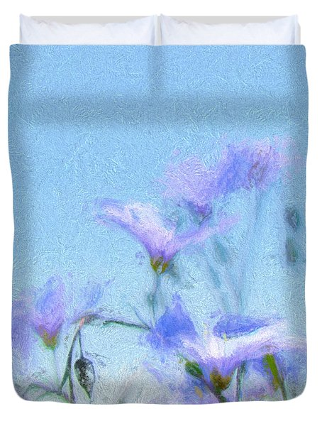 Duvet Cover featuring the digital art Flowers In Blue by Cathy Anderson