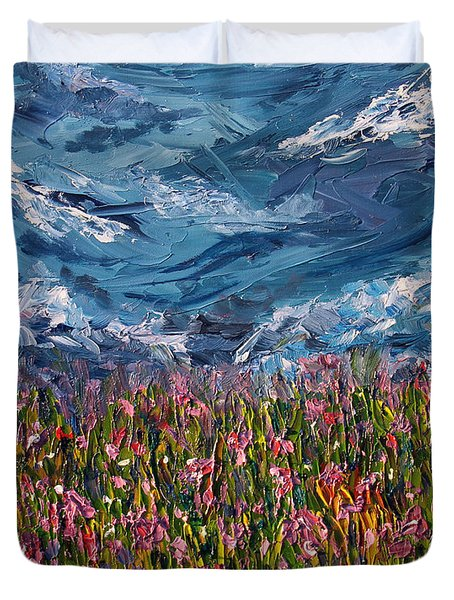 Duvet Cover featuring the painting Flowers Of The Field by Meaghan Troup