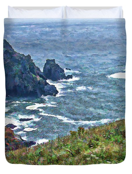 Flowers On Isle Of Guernsey Cliffs Duvet Cover